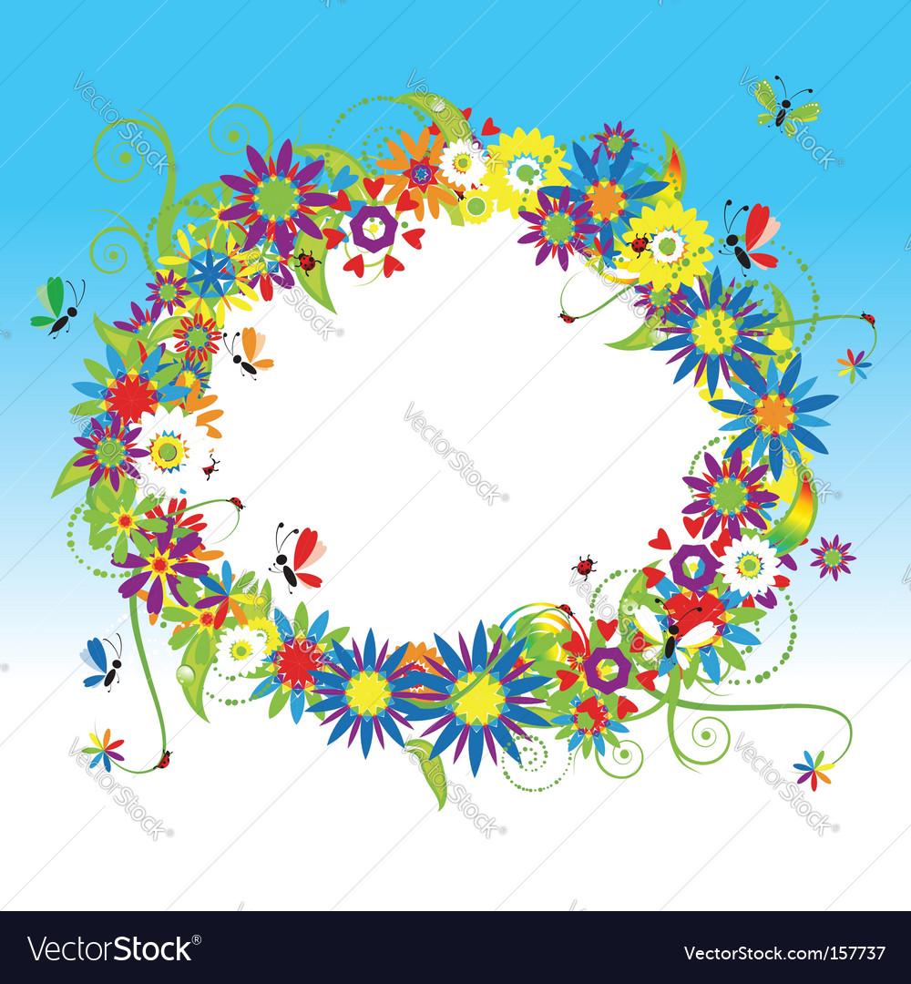 Floral frame summer vector | Price: 1 Credit (USD $1)