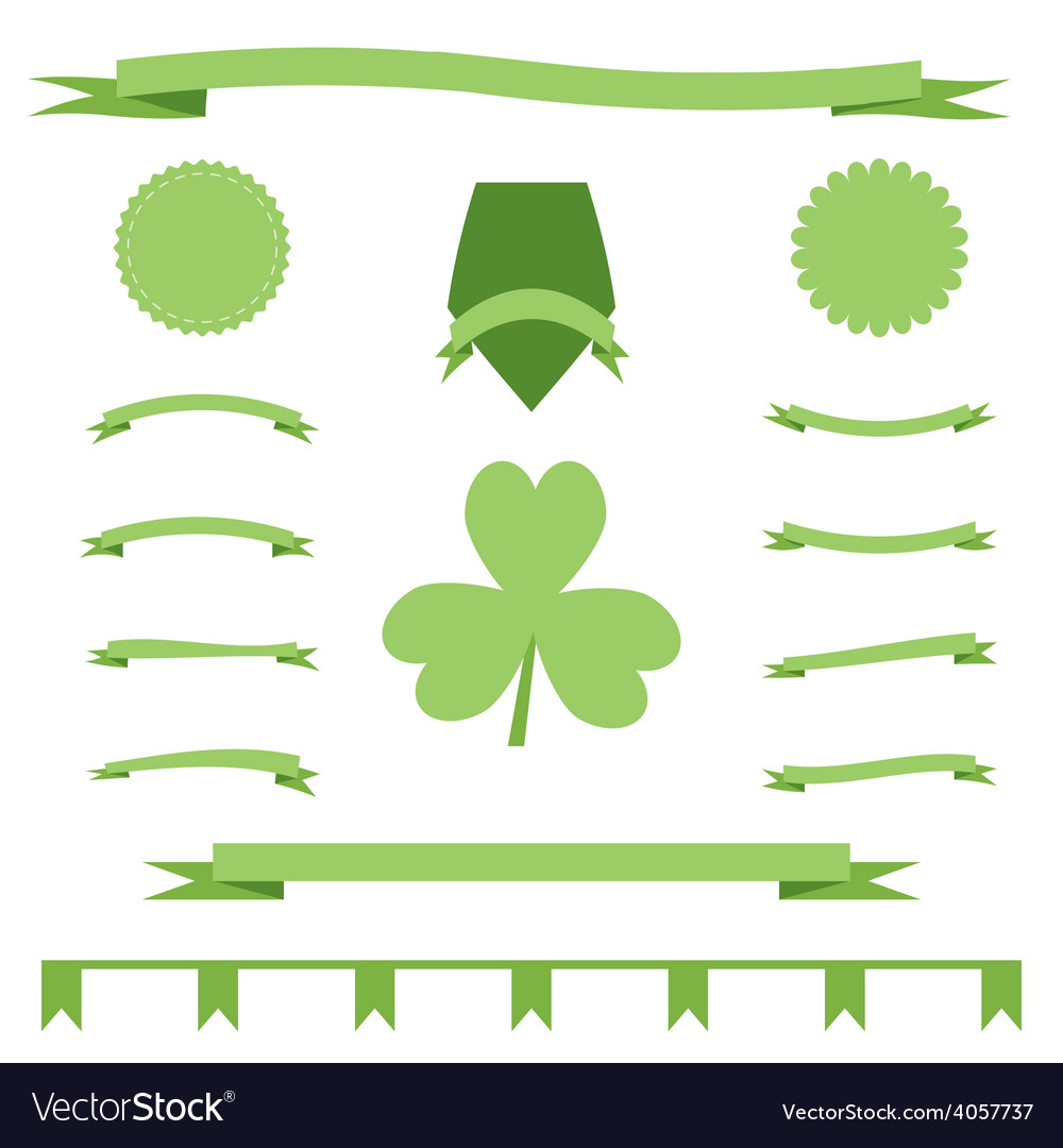 Green eco ribbons set of st patrick day vector | Price: 1 Credit (USD $1)