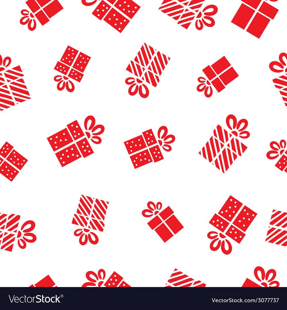Seamless gift pattern red gift boxes on white vector | Price: 1 Credit (USD $1)