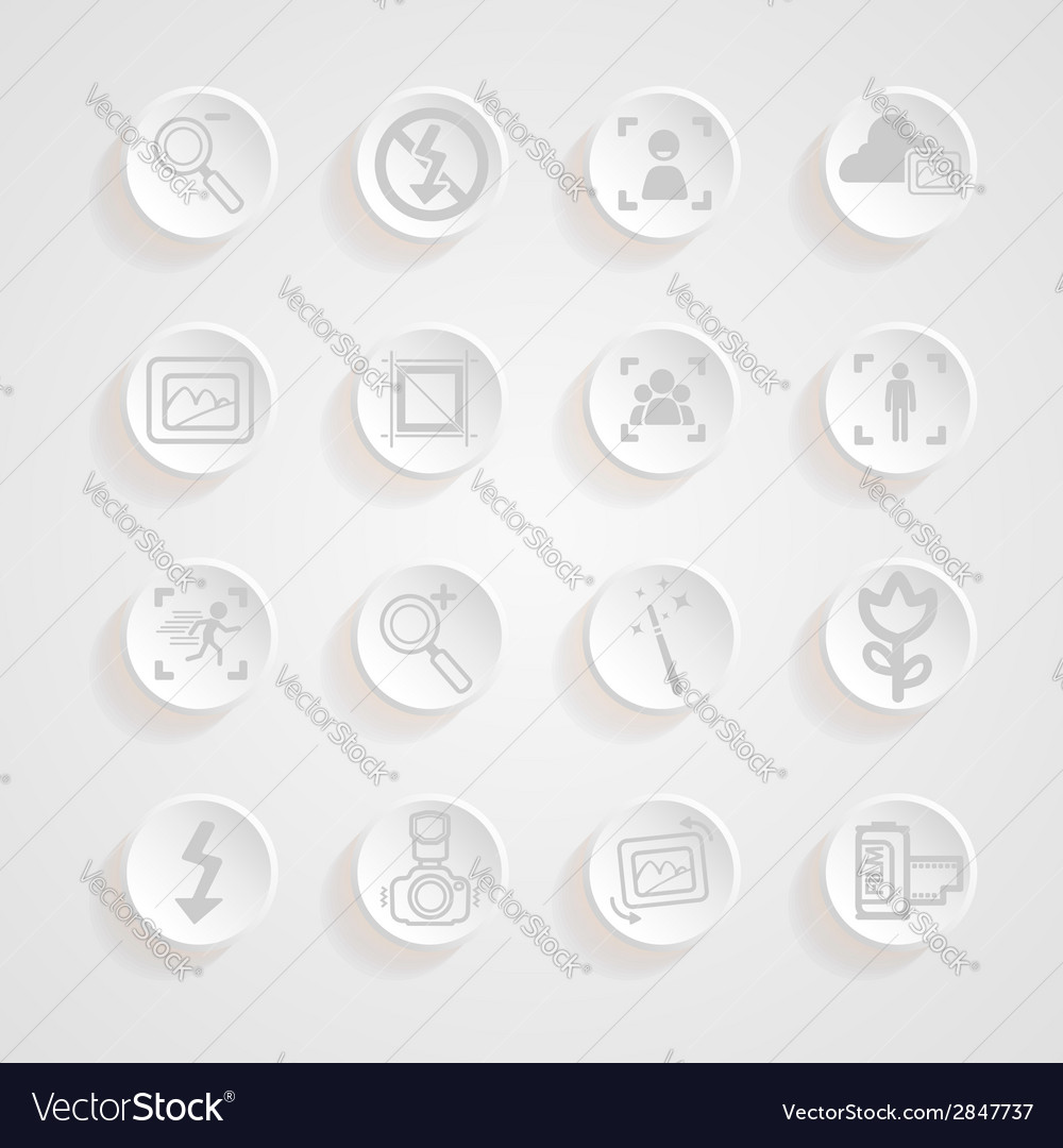 Shadows button camera icons set vector | Price: 1 Credit (USD $1)