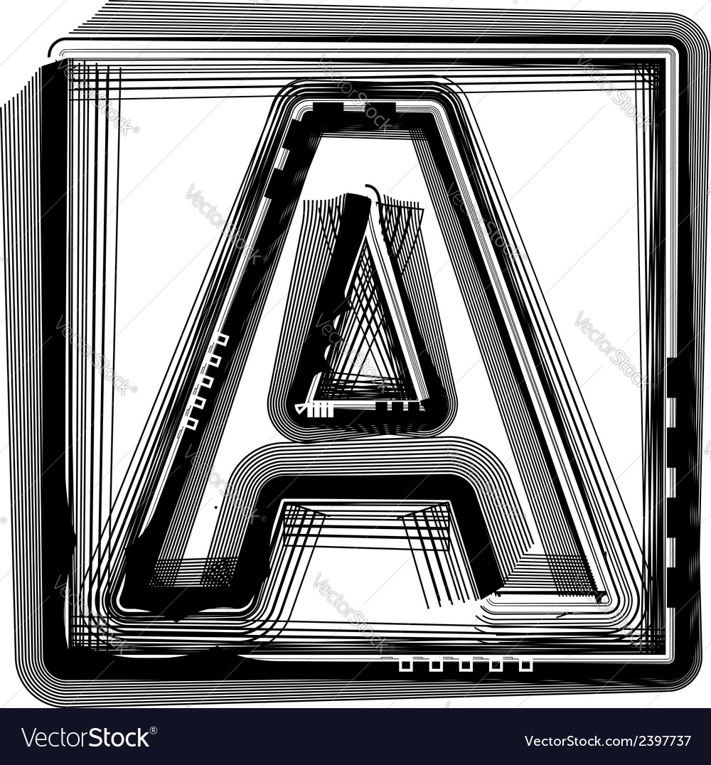 Striped font letter a vector | Price: 1 Credit (USD $1)