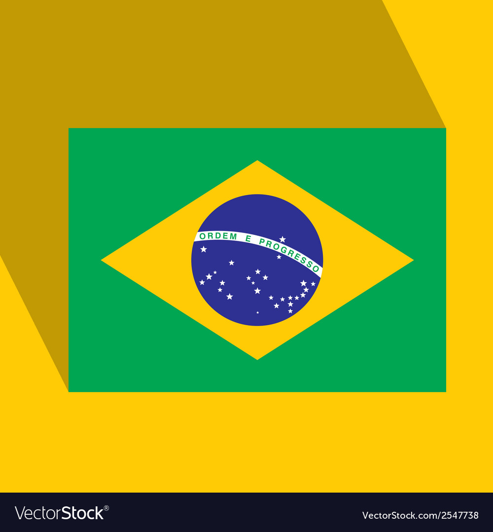Brazil flat icon with brazilian flag vector | Price: 1 Credit (USD $1)