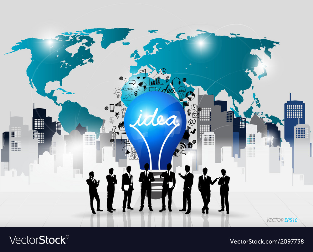 Business people silhouettes and light bulb as vector | Price: 1 Credit (USD $1)