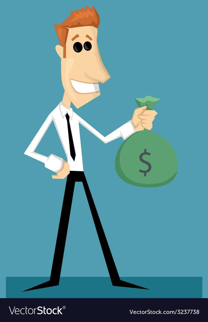 Cartoon office worker with bag of money vector | Price: 1 Credit (USD $1)