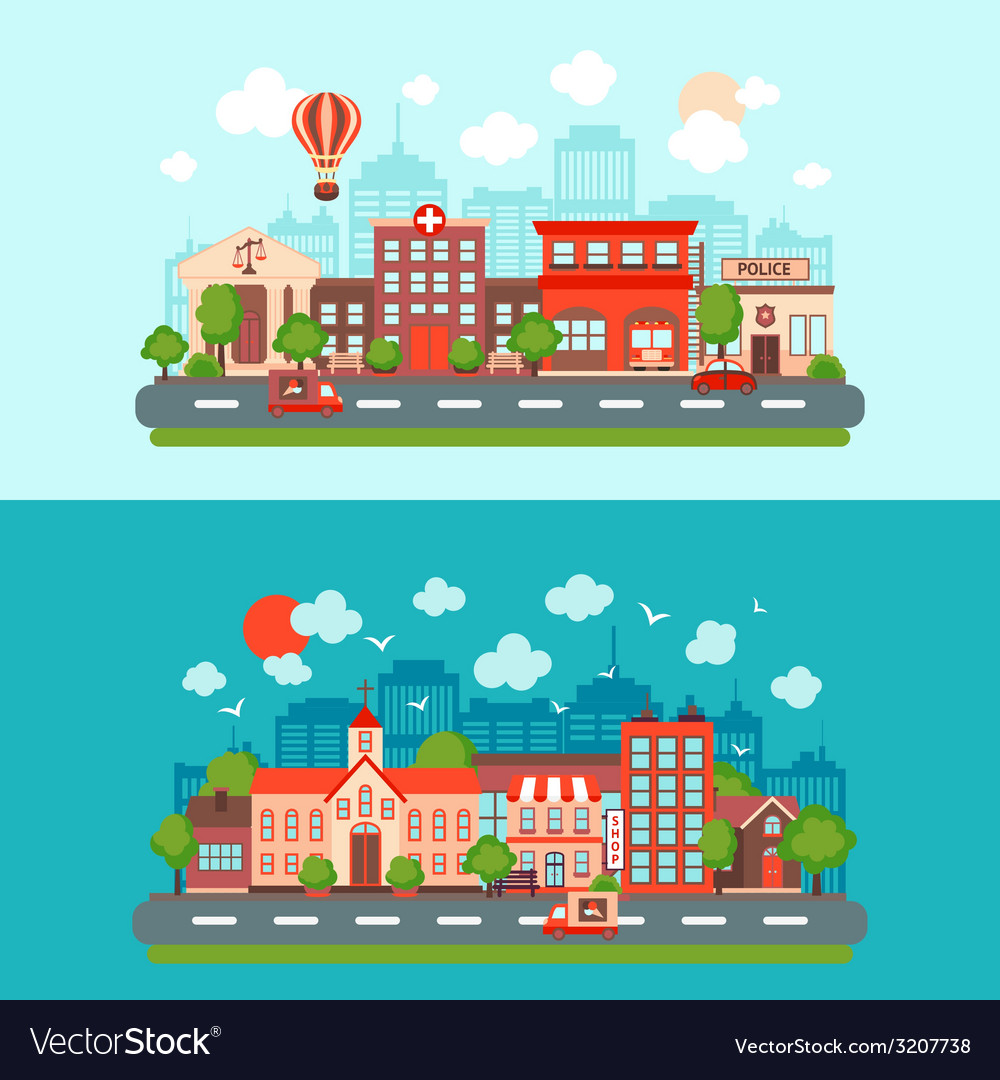 City scape set vector | Price: 1 Credit (USD $1)