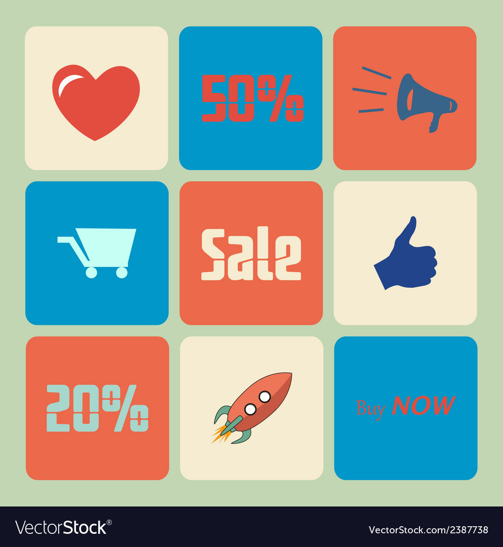 Flat sale icons vector | Price: 1 Credit (USD $1)