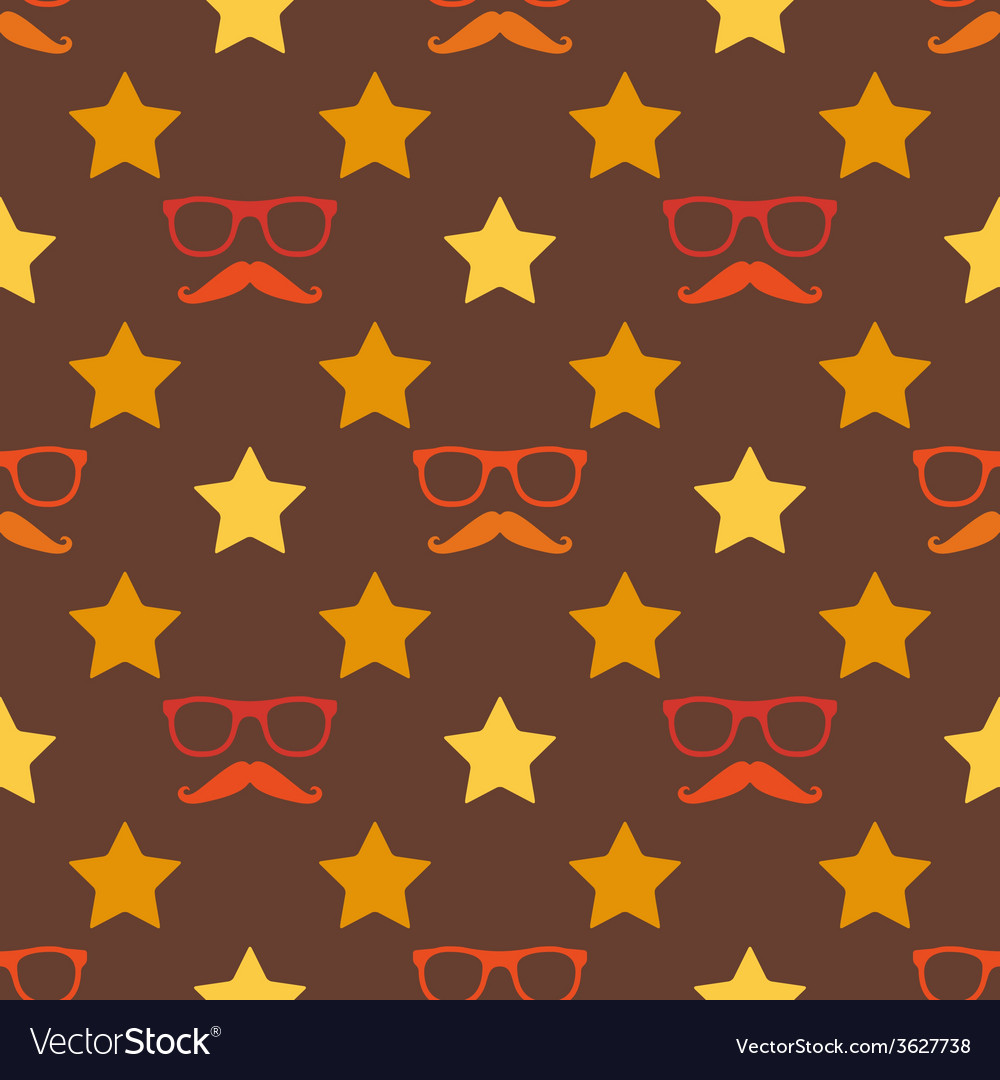 Hipster moustache and spectacles seamless pattern vector | Price: 1 Credit (USD $1)