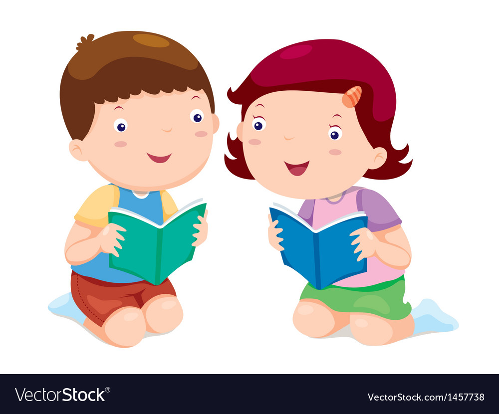Kids reading books vector | Price: 1 Credit (USD $1)