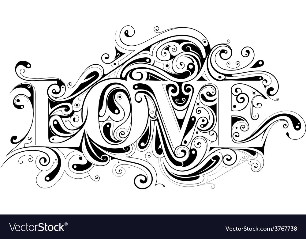 Love calligraphy vector | Price: 1 Credit (USD $1)