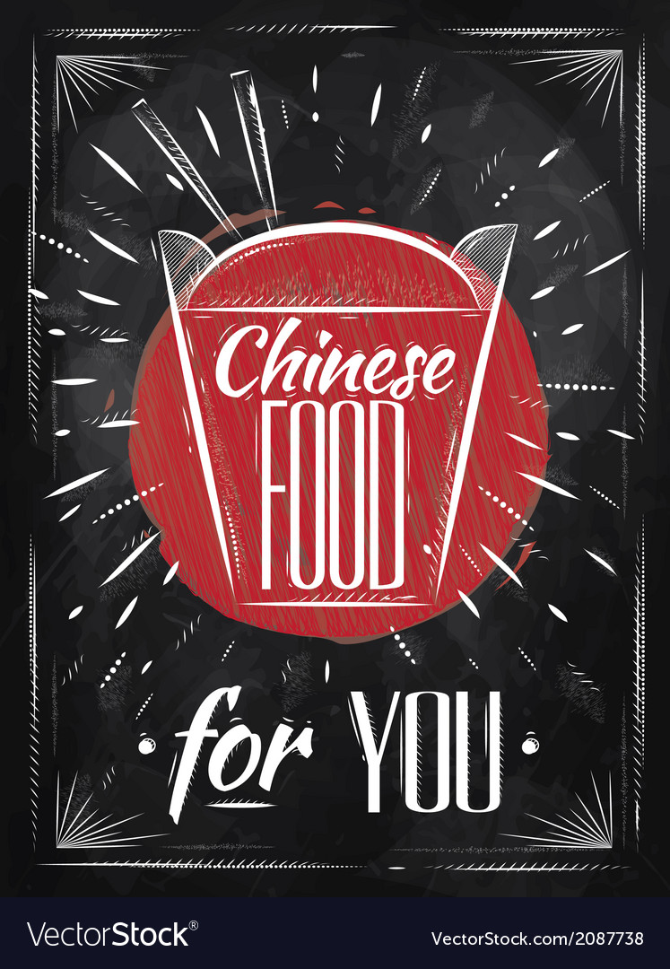 Poster chinese food chalk vector | Price: 1 Credit (USD $1)