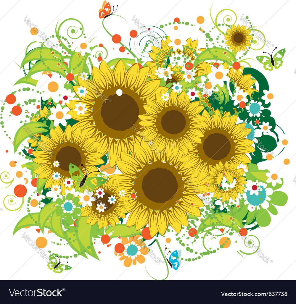 Summer sunflowers bouquet vector | Price: 1 Credit (USD $1)