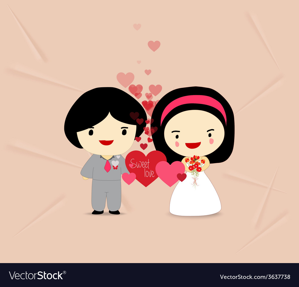 Sweet love couple with hearts vector | Price: 1 Credit (USD $1)