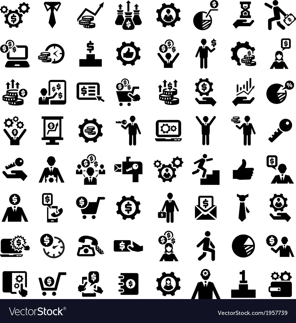 Big business success icons set vector | Price: 1 Credit (USD $1)
