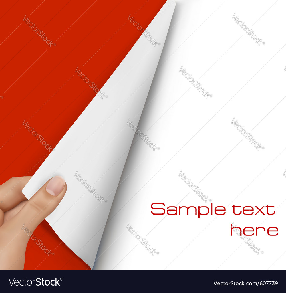 Blank sheet of paper with hand vector | Price: 1 Credit (USD $1)