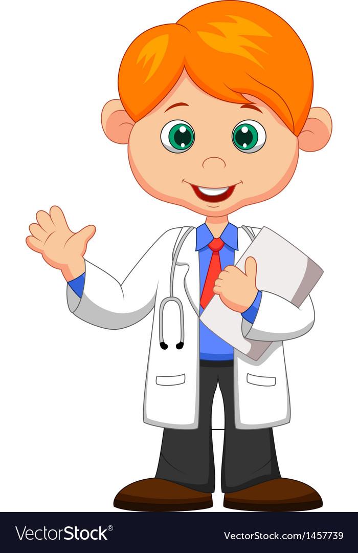 Cute little male doctor cartoon waving hand vector | Price: 1 Credit (USD $1)