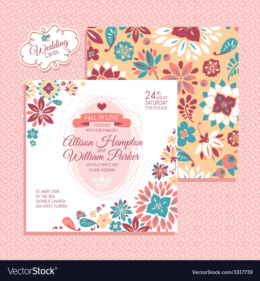 Floral wedding card vector | Price: 1 Credit (USD $1)