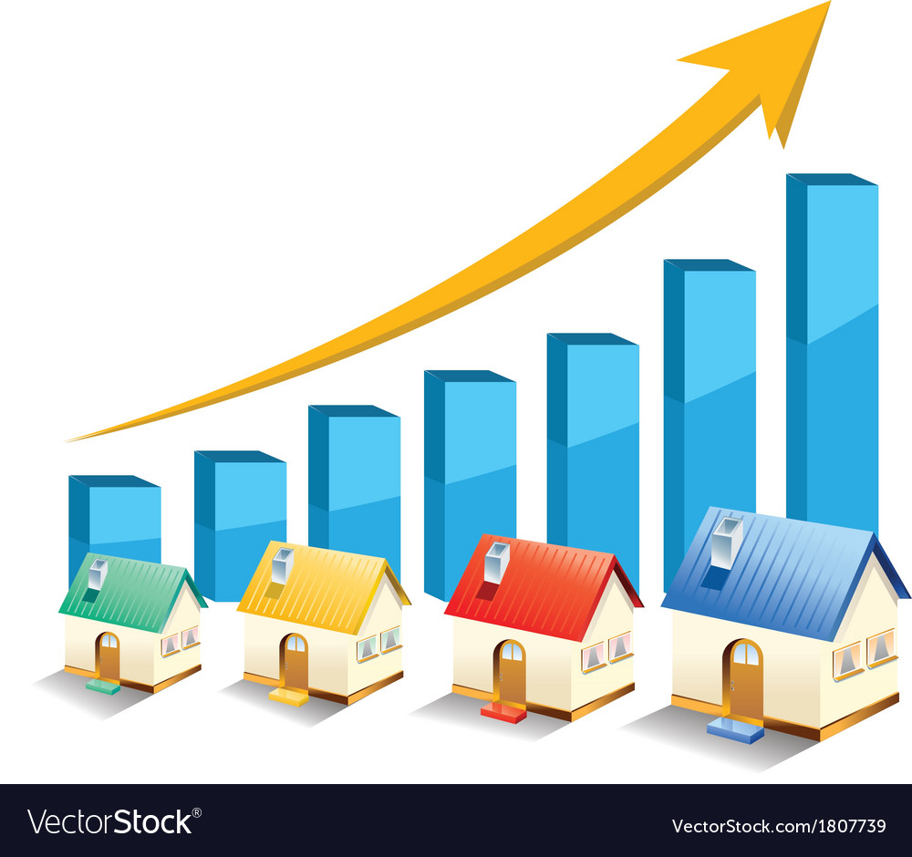 Growth in real estate shown on chart vector | Price: 1 Credit (USD $1)