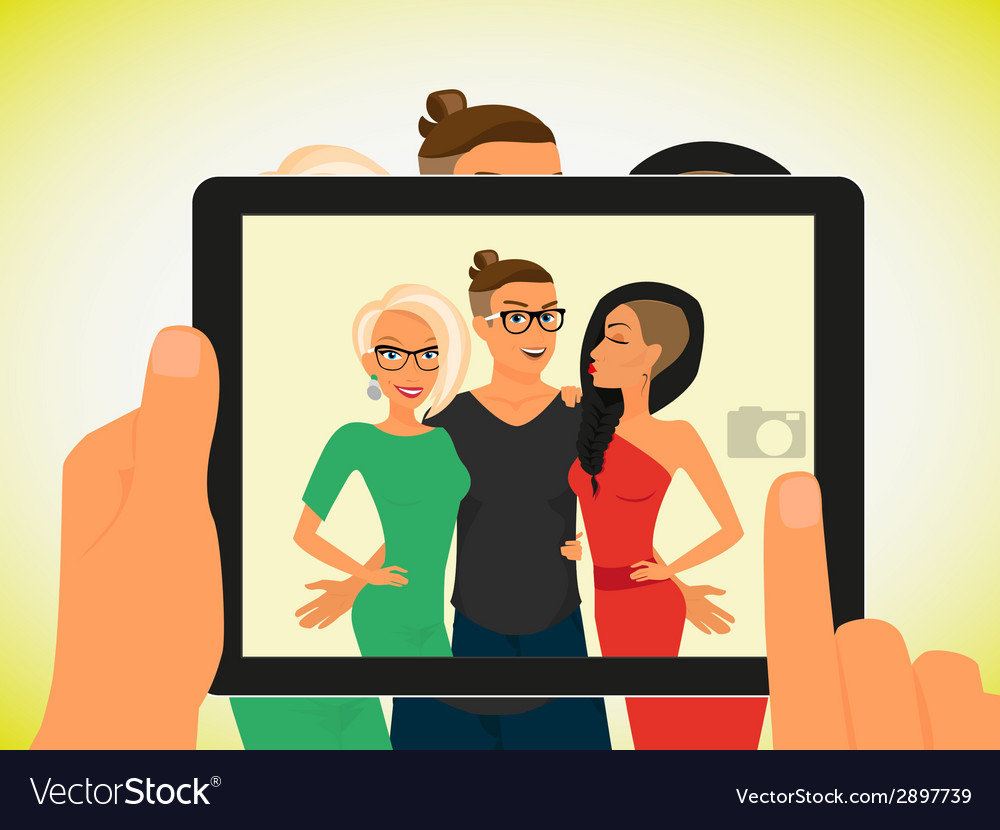Hipster guy and his pretty girlfriends vector | Price: 1 Credit (USD $1)