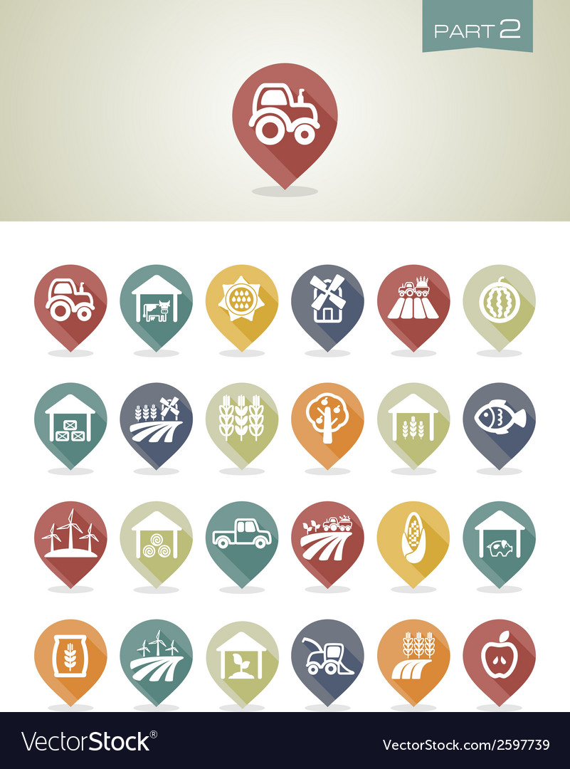Mapping pins icons farm part 2 vector | Price: 1 Credit (USD $1)
