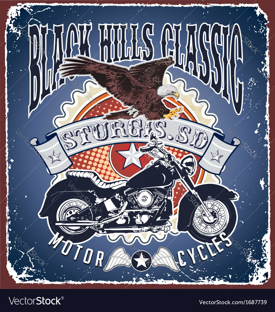 Motorcycle black hills classic vector | Price: 1 Credit (USD $1)