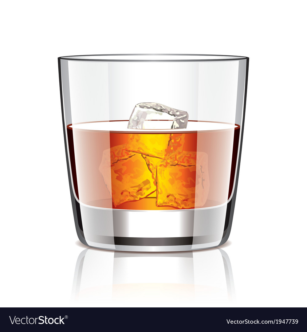 Object whiskey with ice vector | Price: 1 Credit (USD $1)