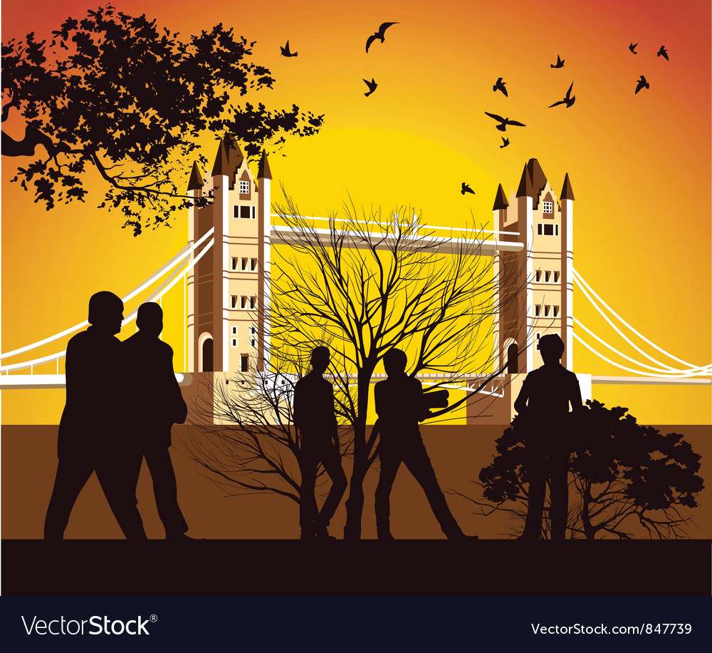 Old british bridge with birds vector | Price: 1 Credit (USD $1)