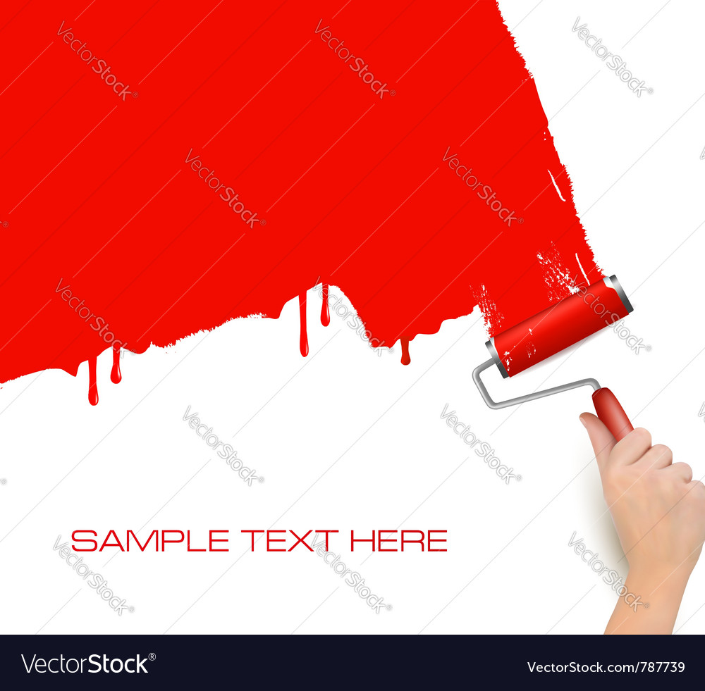 Red roller paint vector | Price: 1 Credit (USD $1)