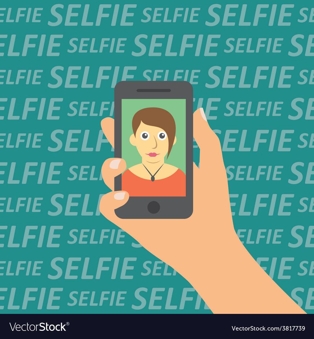 Selfie on smartphone vector | Price: 1 Credit (USD $1)