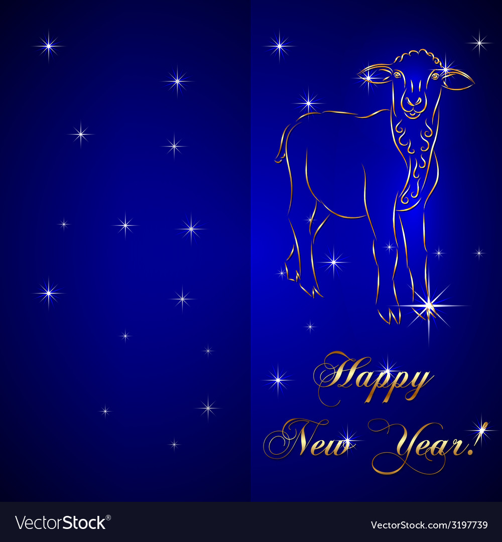 Sketch of sheep symbol new year on blue background vector | Price: 1 Credit (USD $1)