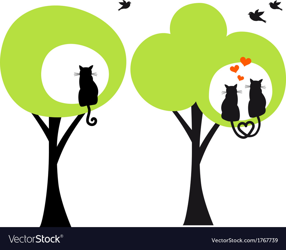 Trees with cats and birds vector | Price: 1 Credit (USD $1)