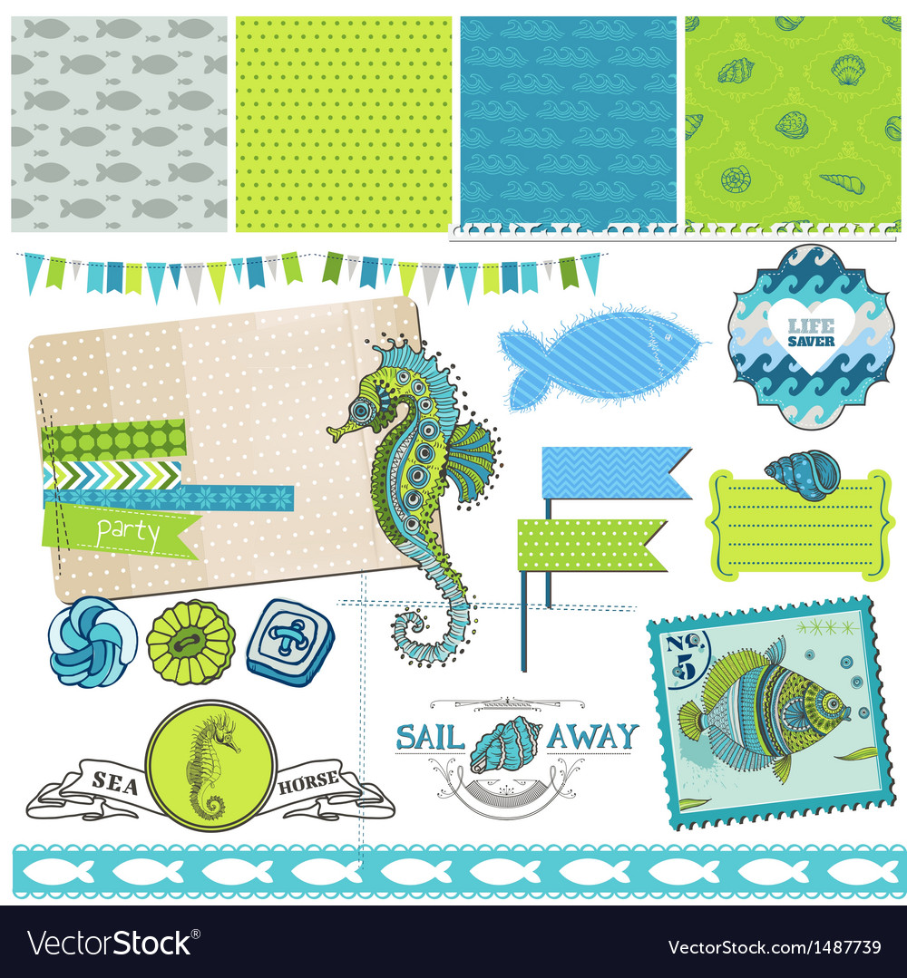 Tropical fish and sea horse theme vector | Price: 1 Credit (USD $1)