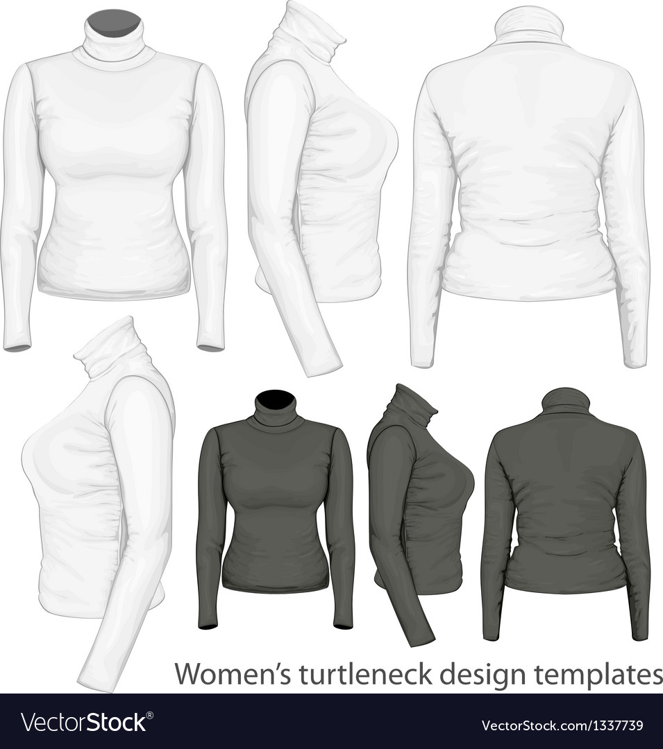 Womens turtleneck design templates vector | Price: 3 Credit (USD $3)