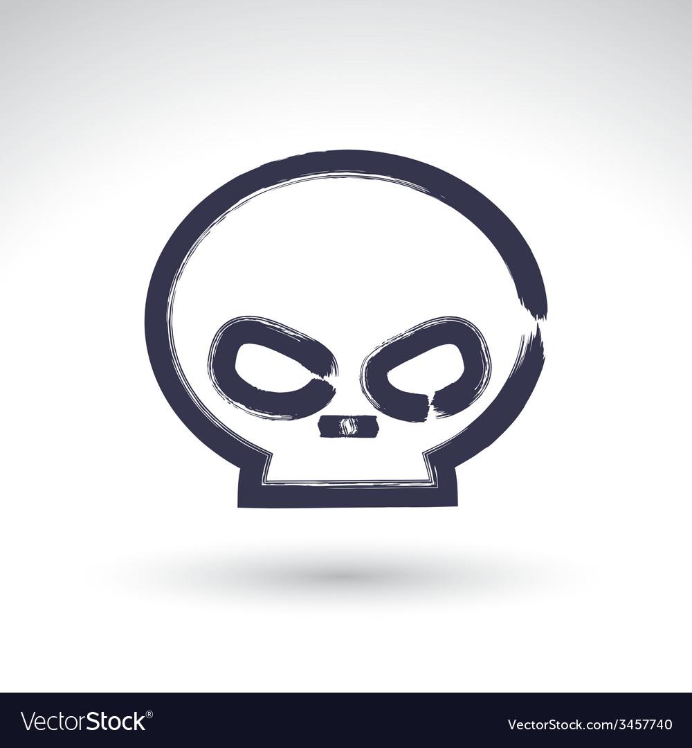 Brush drawing simple human skull painted medicine vector | Price: 1 Credit (USD $1)