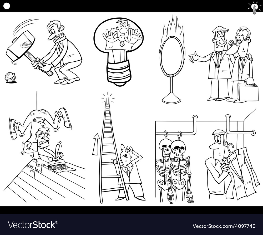 Cartoon concepts and sayings set vector | Price: 1 Credit (USD $1)