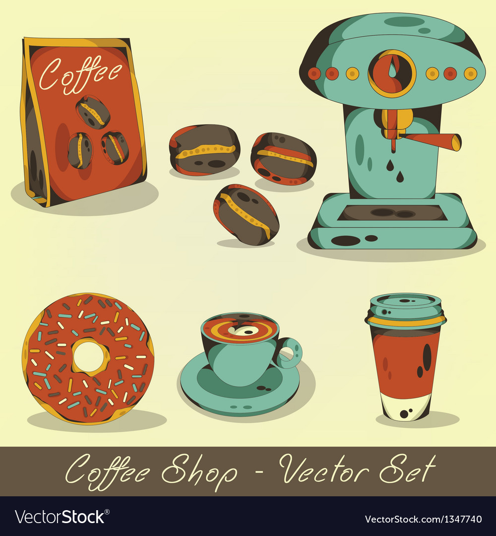 Coffee shop set vector | Price: 3 Credit (USD $3)