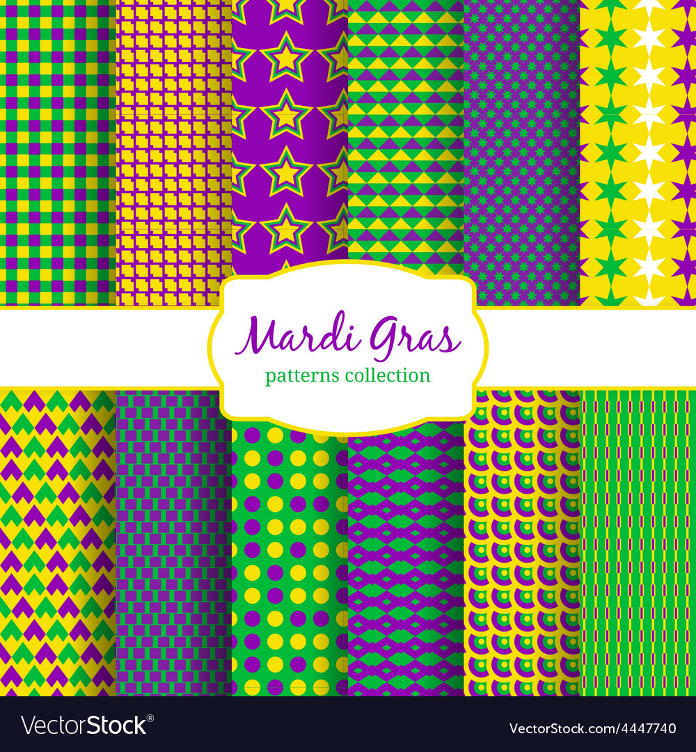 Mardi gras carnival patterns collection vector | Price: 1 Credit (USD $1)
