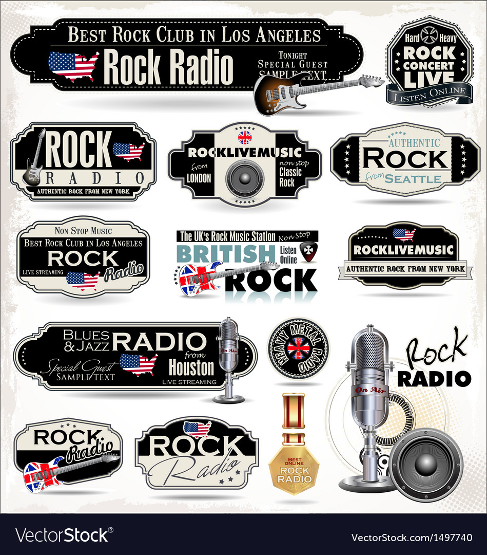 Rock music radio station labels vector | Price: 3 Credit (USD $3)