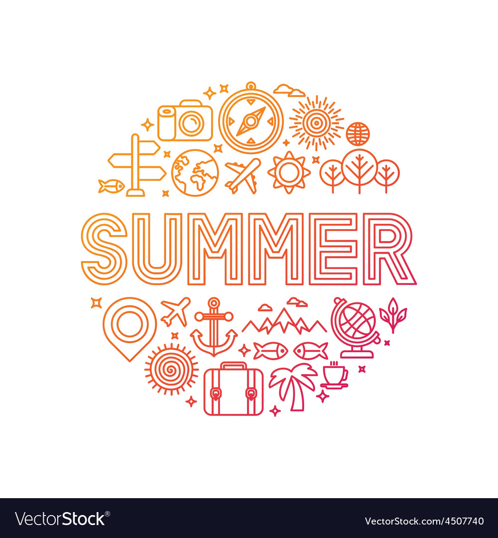 Summer lettering with linear icons and signs vector | Price: 1 Credit (USD $1)