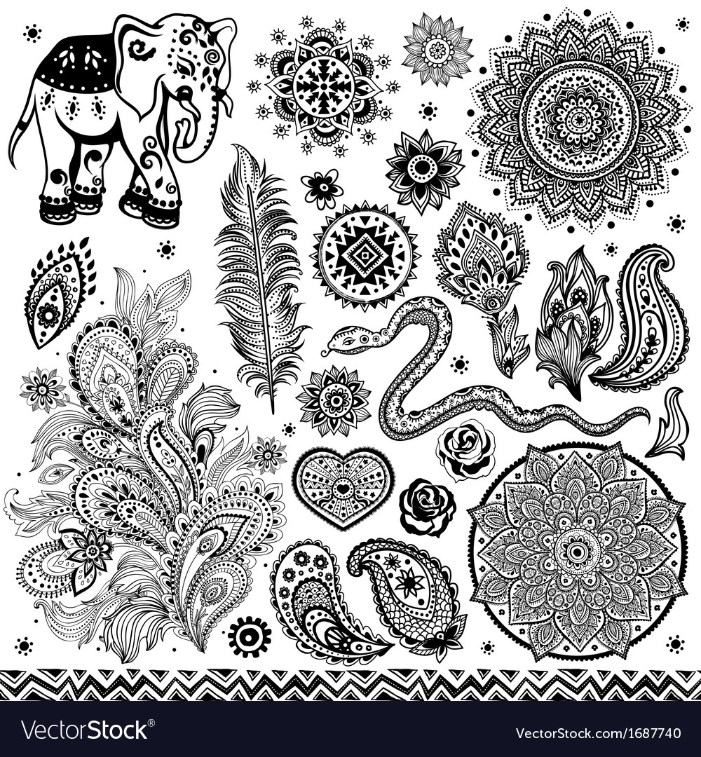 Tribal vintage ethnic pattern set vector   Price: 1 Credit (USD $1)