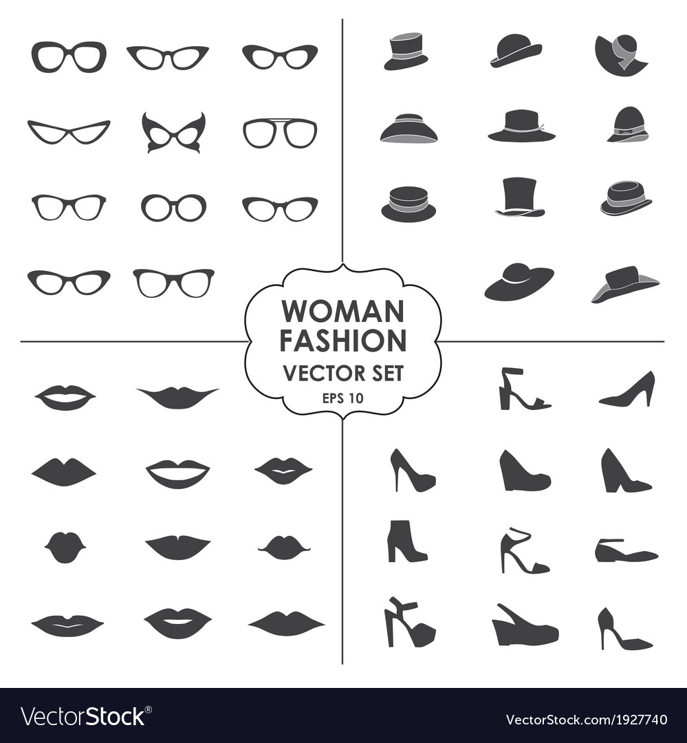 Woman fashion set - icons glasses hats shoes lips vector | Price: 1 Credit (USD $1)