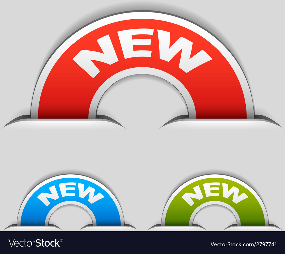Attached new half circle labels vector | Price: 1 Credit (USD $1)