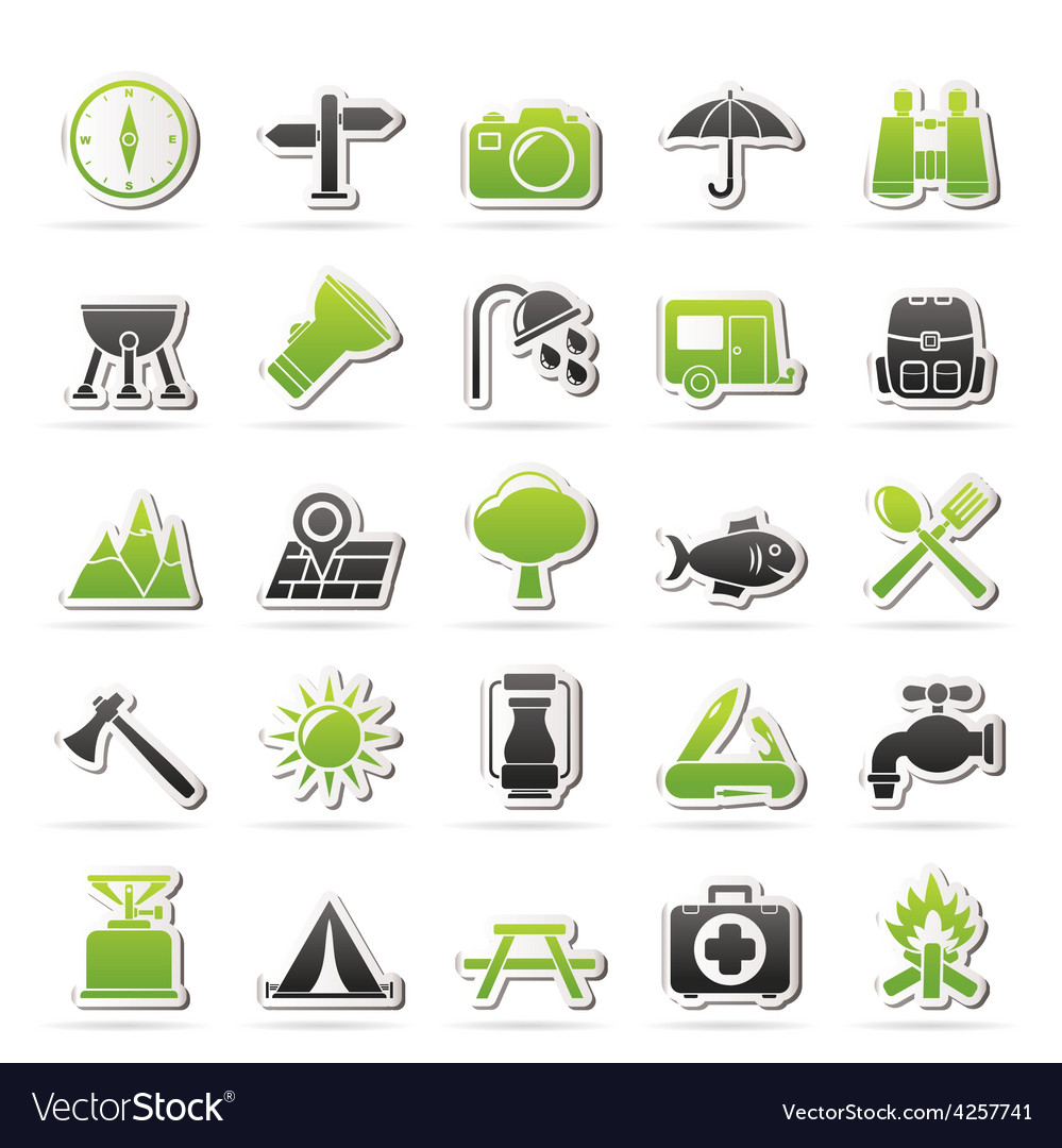 Camping and tourism icons vector | Price: 1 Credit (USD $1)