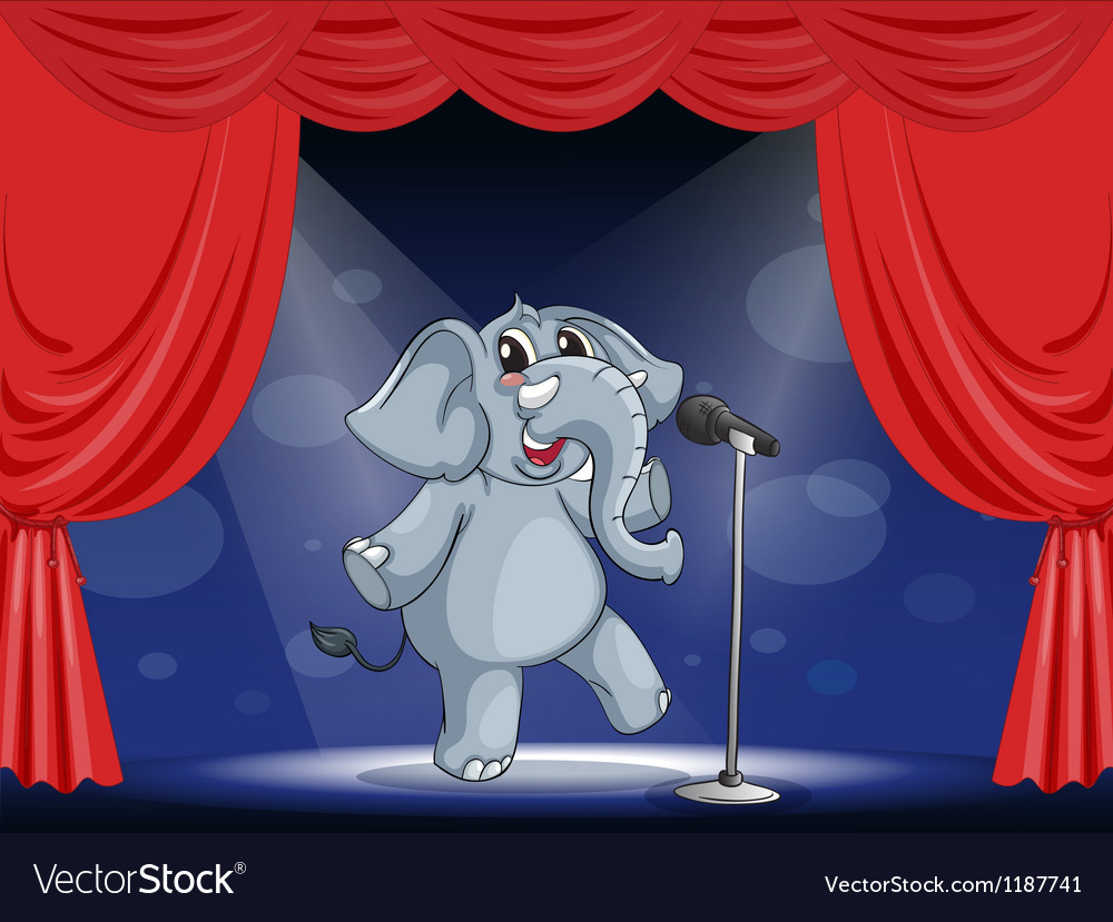 Cartoon performing elephant vector | Price: 1 Credit (USD $1)