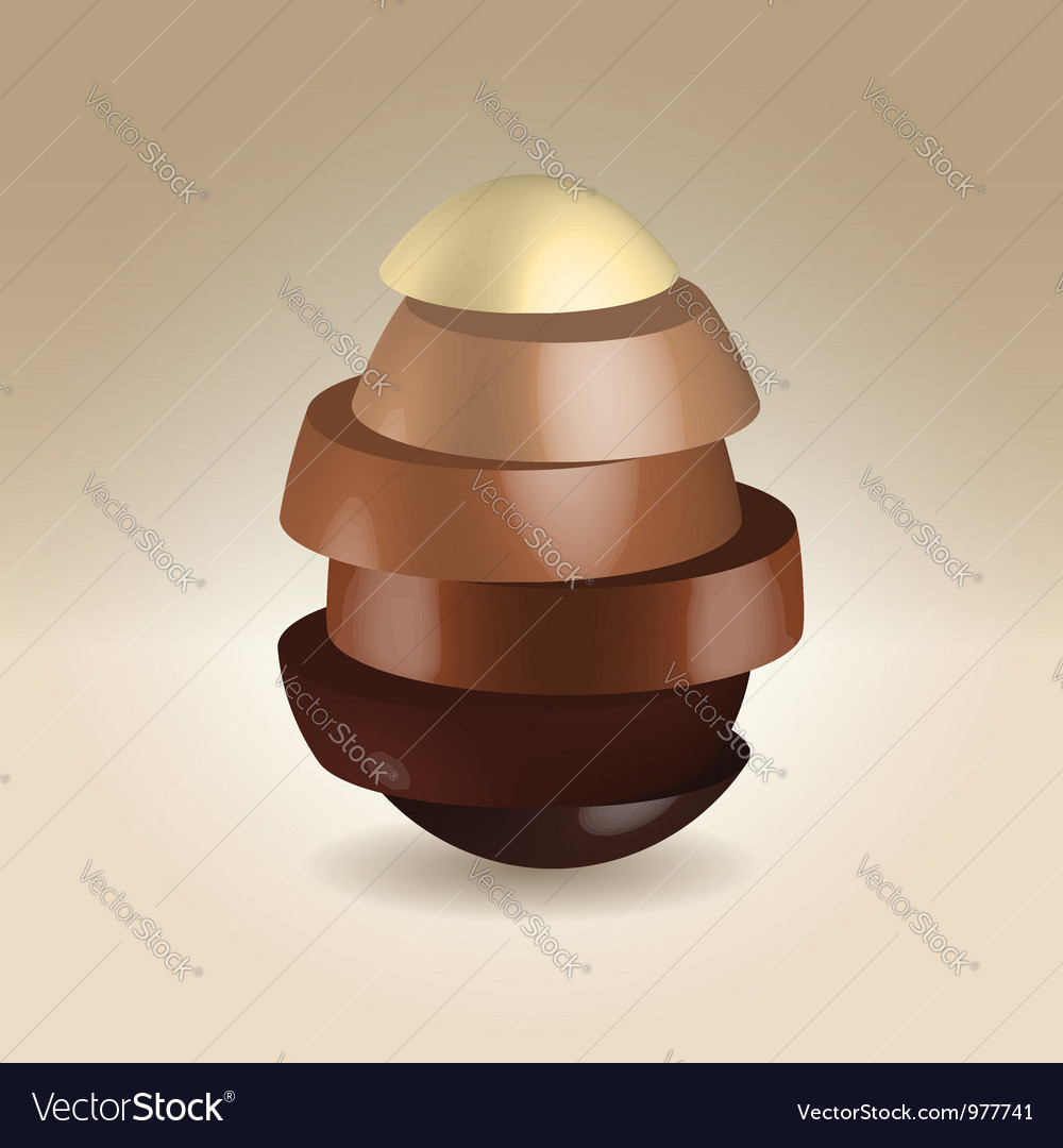 Chocolate slices made egg shape vector | Price:  Credit (USD $)
