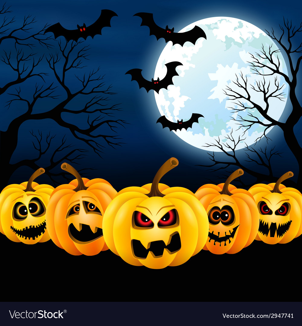 Full moon on halloween vector | Price: 1 Credit (USD $1)