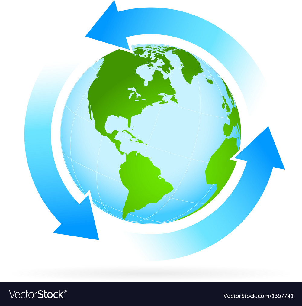 Icon planet earth with arrow vector | Price: 1 Credit (USD $1)