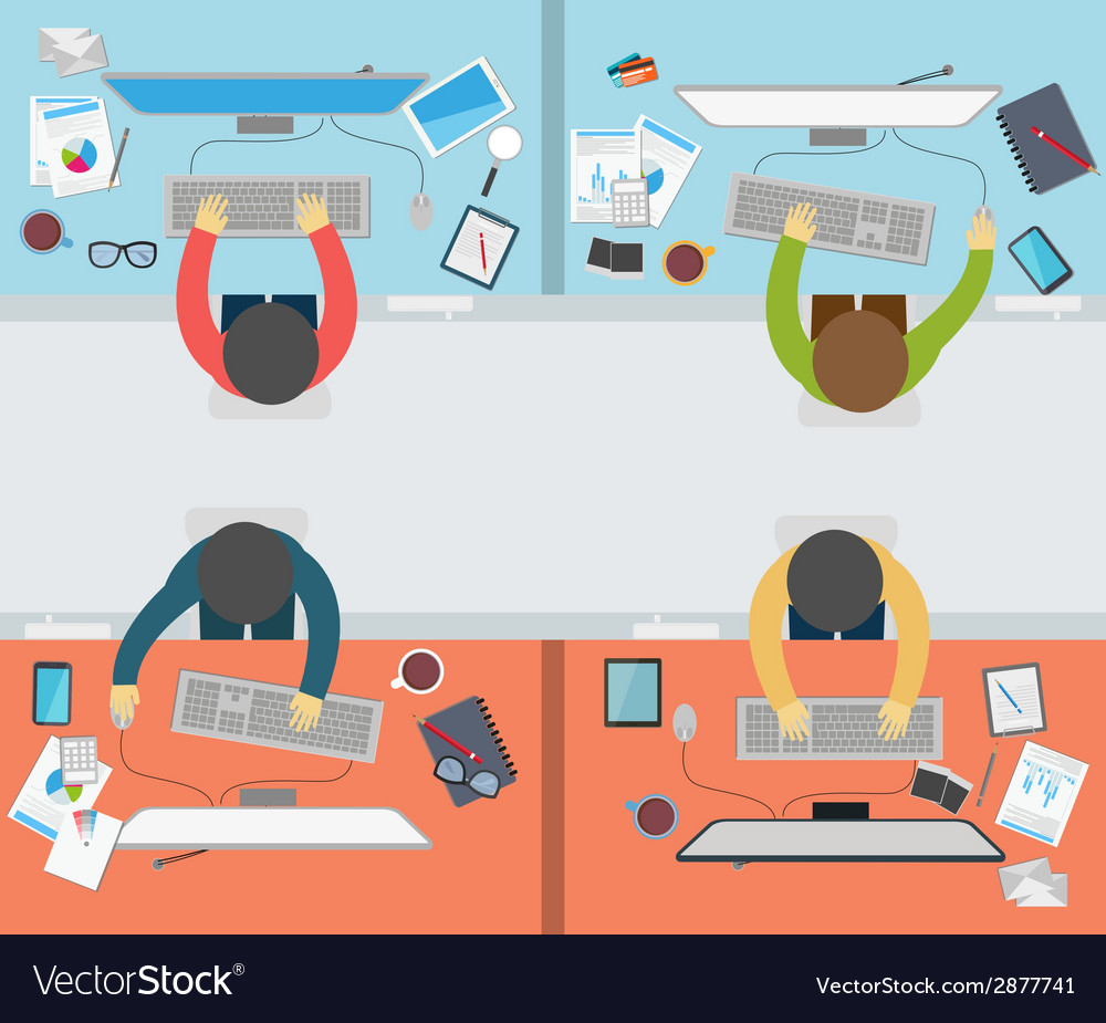 Office worker activity on flat style vector | Price: 1 Credit (USD $1)
