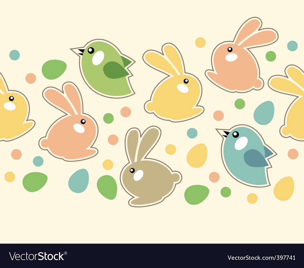 Seamless easter border with rabbits vector | Price: 1 Credit (USD $1)