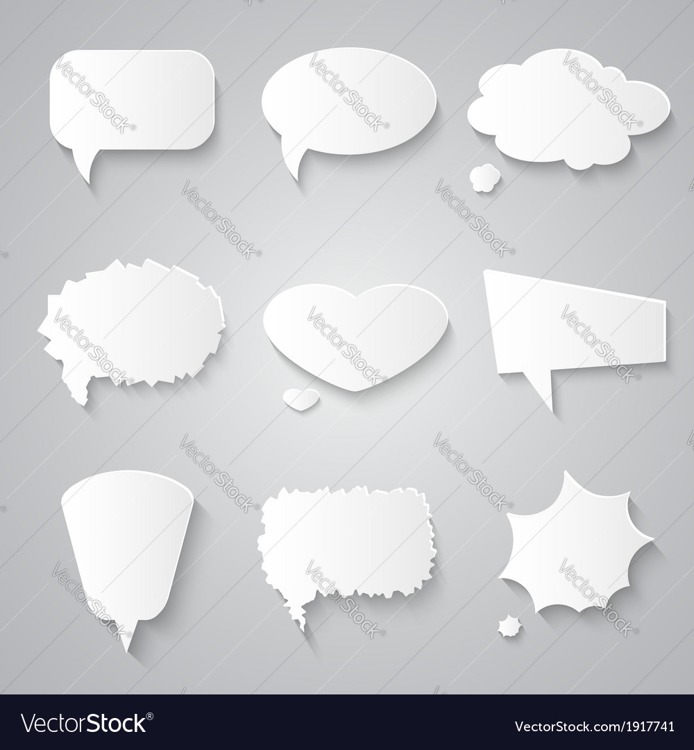 Set of paper speech bubbles with shadows vector | Price: 1 Credit (USD $1)