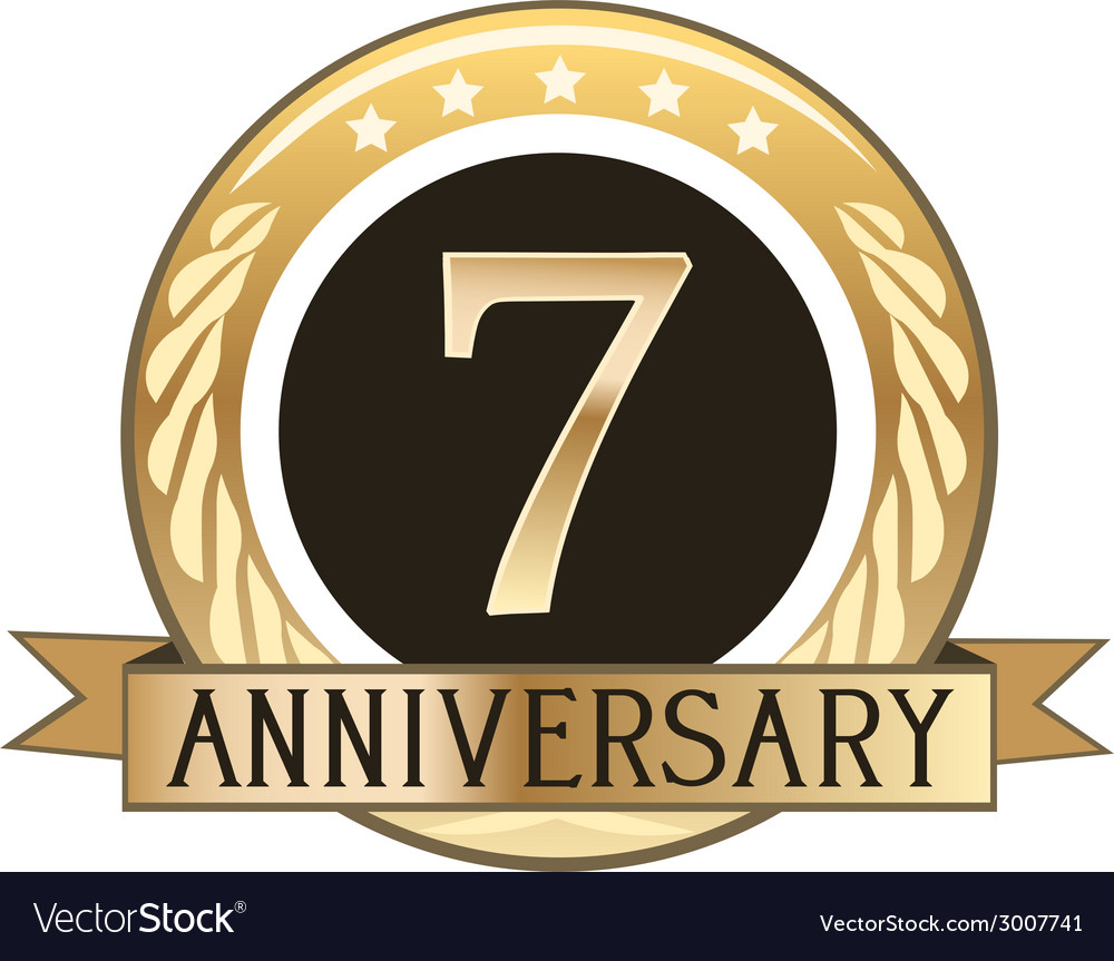 Seven year anniversary badge vector | Price: 1 Credit (USD $1)